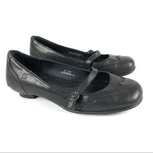 Born Women's Mary Jane Black Leather Flats